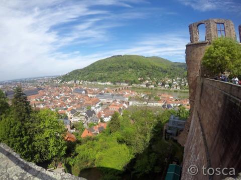 Blick auf Heidelberg vom Schloss aus